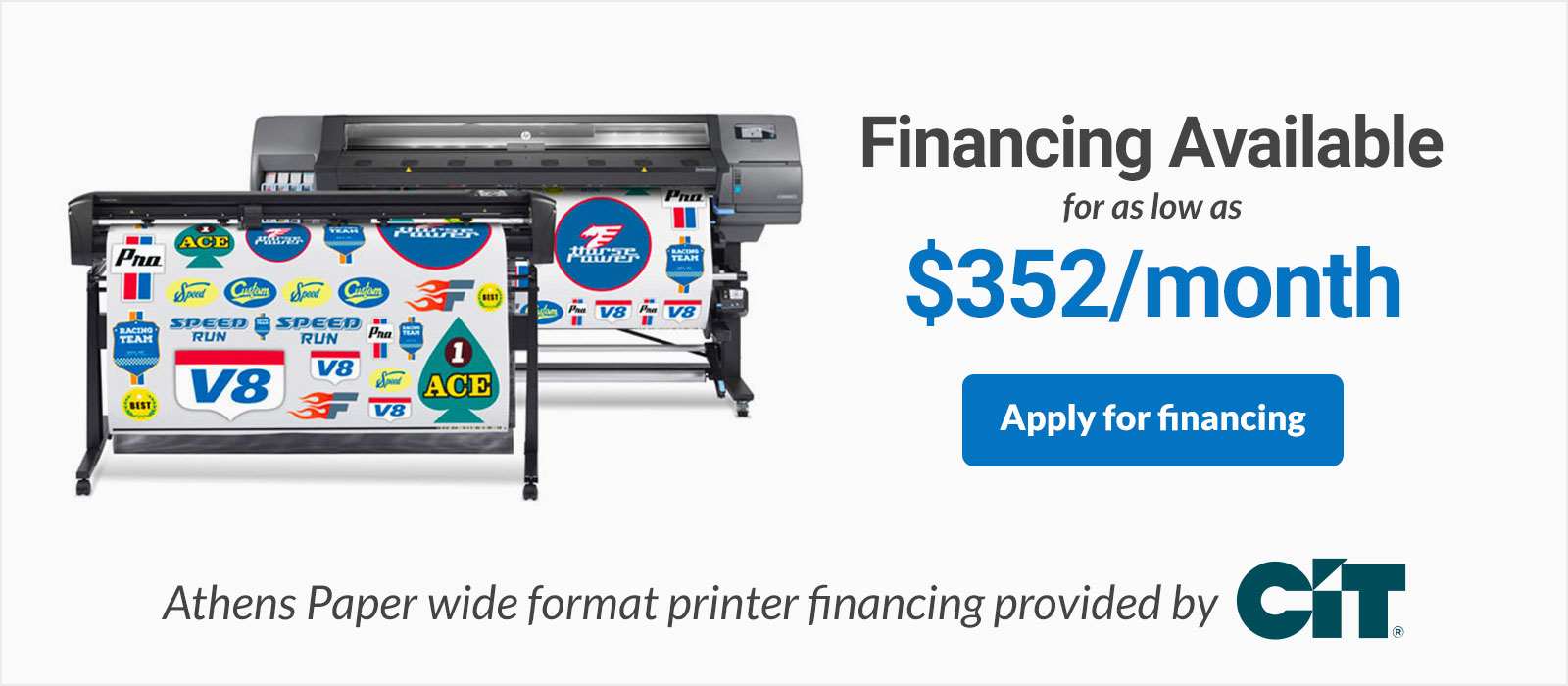 HP Latex 335 Print and Cut Financing HP 335 Printer and Cutter Bundle on sale discounted low monthly payments